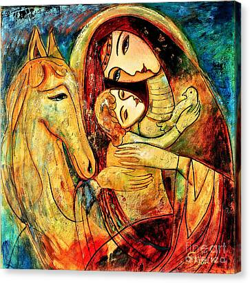 Mother With Child On Horse Canvas Print by Shijun Munns