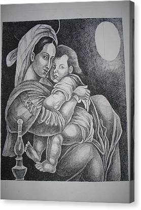 Mother With Her Baby Canvas Print by Prasenjit Dhar