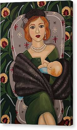 Mother With Her First Born Canvas Print by Stephanie Cohen