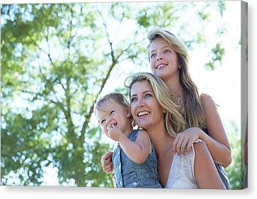 Mother With Her Two Daughters Canvas Print