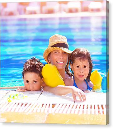 Mother With Kids In Poolside Canvas Print by Anna Om