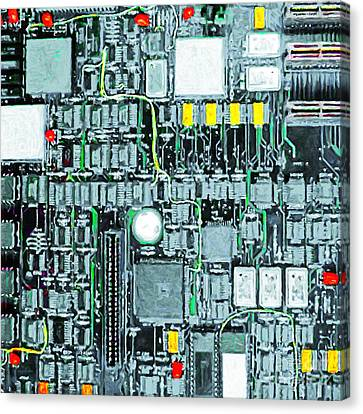 Motherboard Abstract 20130716 Square Canvas Print by Wingsdomain Art and Photography