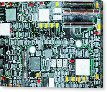 Motherboard Abstract 20130716 Canvas Print by Wingsdomain Art and Photography