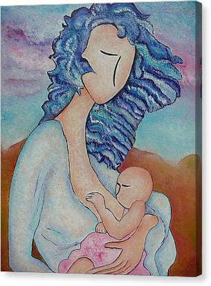 Motherhood Painting Everywhere Original Oil By Gioia Albano Canvas Print by Gioia Albano