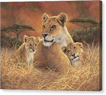 Lioness Canvas Print - Motherly by Lucie Bilodeau
