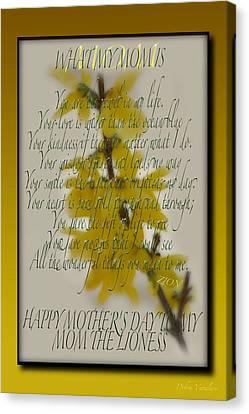 Mothers Day Plaques Canvas Print by Debra     Vatalaro