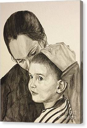 Canvas Print featuring the painting Mother's Love by Tamir Barkan