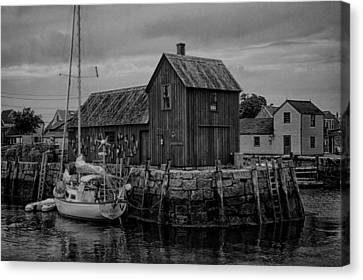 Fishing Shack Canvas Print - Motif Number 1 - Rockport Harbor Bw by Stephen Stookey