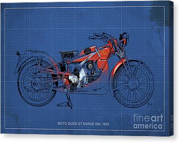 Moto Guzzi Gt Norge 500 1928 Canvas Print by Pablo Franchi
