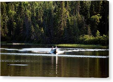 Canvas Print featuring the photograph Motor Boat On The Lake by Marek Poplawski