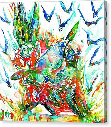 Motor Demon With Bats Canvas Print by Fabrizio Cassetta