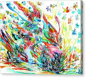 Motor Demon With Butterflies Canvas Print by Fabrizio Cassetta