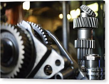 Motor Gears To Be Assembled Canvas Print by Sami Sarkis