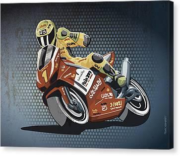 Motorbike Racing Grunge Color Canvas Print by Frank Ramspott