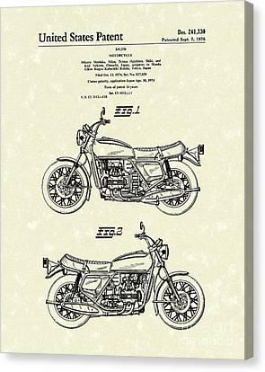 Bike Canvas Print - Motorcycle 1976 Patent Art by Prior Art Design