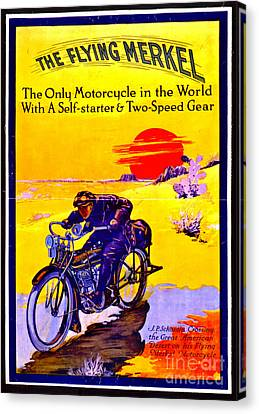 Motorcycle Ad 1913 Canvas Print by Padre Art