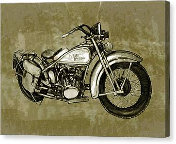 Motorcycle Art Sketch Poster Canvas Print by Kim Wang