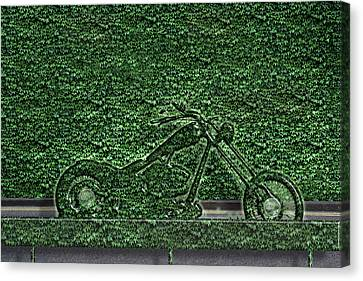 Motorcycle Made Of Ivy Canvas Print