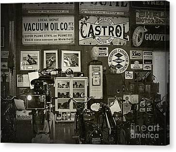 Motorcycle Museum - Oils - Old Signage Canvas Print by Kaye Menner