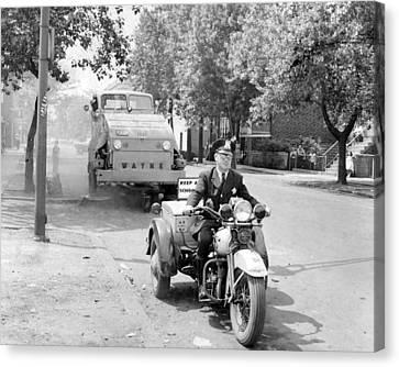 Motorcycle Police Vintage Clean Up Canvas Print by Retro Images Archive