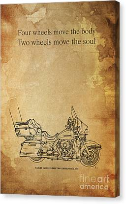 Motorcycle Quote - Four Wheels Move The Body... Canvas Print by Pablo Franchi