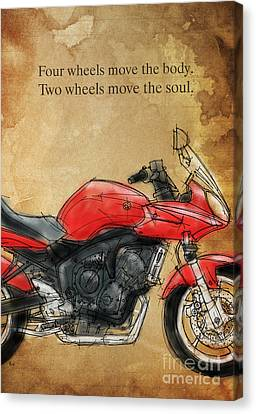 Motorcycle Quote Canvas Print by Pablo Franchi
