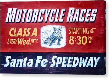 Motorcycle Races Santa Fe Speedway Canvas Print by Bill Cannon