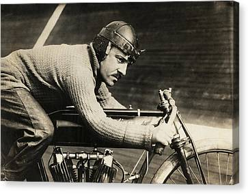 Concentration Canvas Print - Motorcyclist Andre Grapperon by Underwood Archives