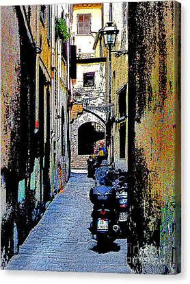 Canvas Print featuring the digital art Motorcyle In Florence Alley by Jennie Breeze