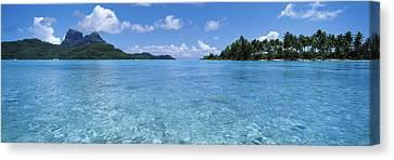 Motu And Lagoon, Bora Bora, Society Canvas Print
