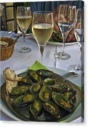 Canvas Print featuring the photograph Moules And Chardonnay by Allen Sheffield
