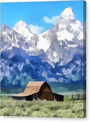 Log Cabin Canvas Print - Moulton Barn Painting by Dan Sproul