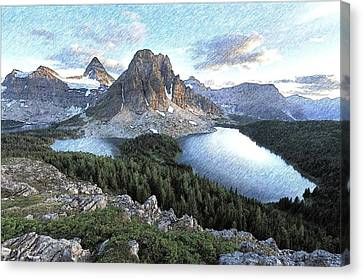 Mount Assiniboine In Pencil Canvas Print by Maciek Froncisz