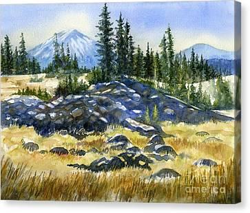 Volcano Rock Canvas Print - Mount Bachelor View by Sharon Freeman