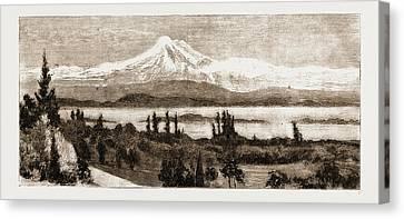 Mount Baker And San Juan Island As Seen Through A Field Canvas Print by Litz Collection