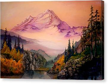 Canvas Print featuring the painting Mount Baker Morning by Sherry Shipley