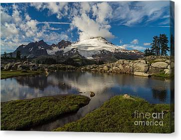 Mount Baker Skies Reflection Canvas Print by Mike Reid