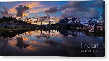 Mount Baker Sunset Cloudscape Panorama Canvas Print by Mike Reid