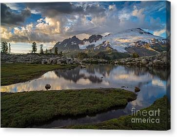 Mount Baker Vivid Golden Cloudscape Canvas Print by Mike Reid