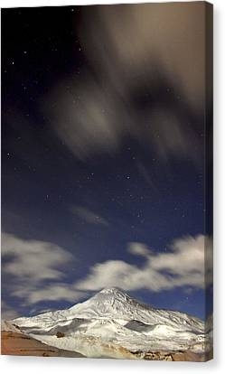Snowy Night Night Canvas Print - Mount Damavand At Night by Babak Tafreshi