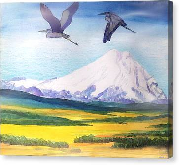 Mount Elbrus Watching Blue Herons Fly Over Sunflower Fields Canvas Print by Anastasia Savage Ealy