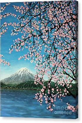 Mount Fuji Cherry Blossoms Canvas Print by Sheena Kohlmeyer