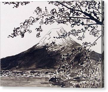 Mount Fuji Spring Blossoms Canvas Print by Kevin Croitz
