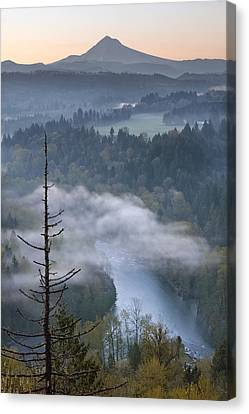 Canvas Print featuring the photograph Mount Hood And Sandy River At Sunrise by JPLDesigns