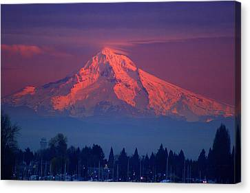 Mount Hood At Sunset Canvas Print by DerekTXFactor Creative