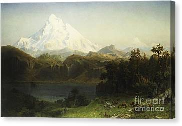 Mount Hood In Oregon Canvas Print by Albert Bierstadt