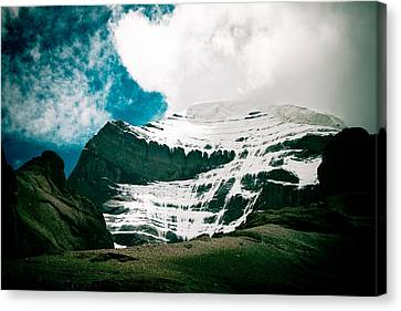 Tibetan Buddhism Canvas Print - Mount Kailash Western Slope Home Of The Lord Shiva by Raimond Klavins