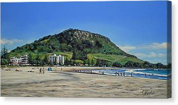 Mount Maunganui Beach 151209 Canvas Print by Sylvia Kula