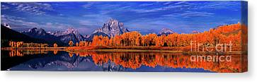 Mount Moran And Fall Color Grand Tetons Canvas Print by Dave Welling