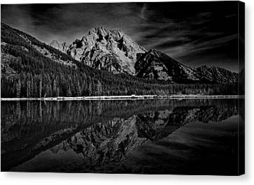 Mount Moran In Black And White Canvas Print by Raymond Salani III
